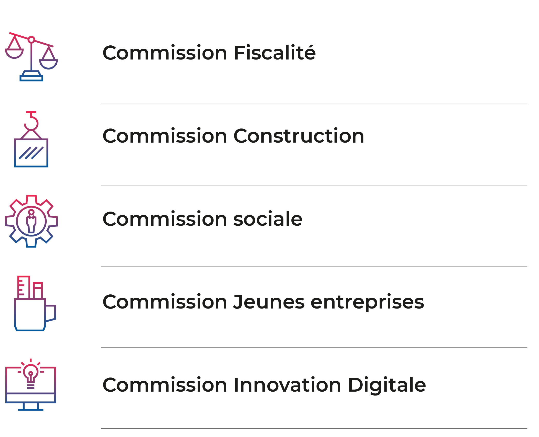 Cinq commissions permamentes